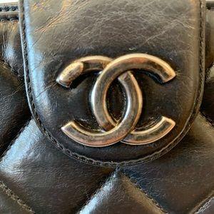 CHANEL Bags - Chanel Top Zip Quilted Calfskin Clutch Crossbody
